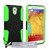 Yousave Accessories Custodia per Samsung Galaxy Note 3 Neo, Nero/Verde