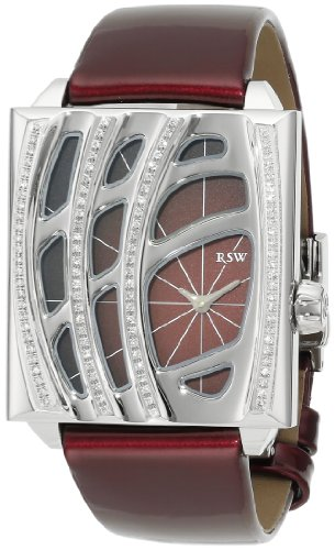 RSW Women's 6020.BS.L4.4.D1 Wonderland Rectangular Maroon Dial Patent Leather Diamond Watch