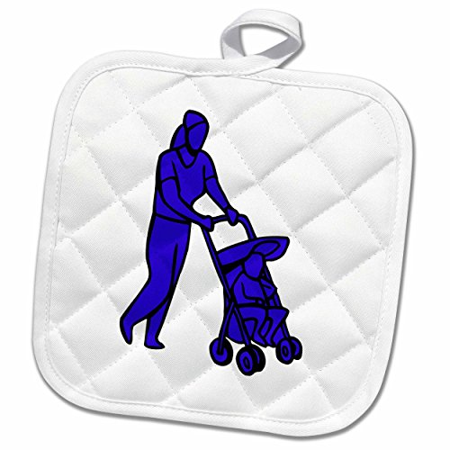 3dRose Susans Zoo Crew Baby Kid Designs - woman pushing stroller with toddler blue - 8x8 Potholder (phl_175752_1) (Pushing Cycle For Toddlers compare prices)
