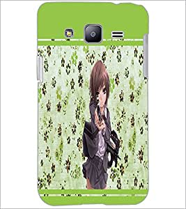 PrintDhaba Girl with Gun D-1343 Back Case Cover for SAMSUNG GALAXY J2 (Multi-Coloured)