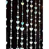 White Heart Beads Curtain Clear Iridescent Shine Large Beaded Curtains For Home Door Window Decoration