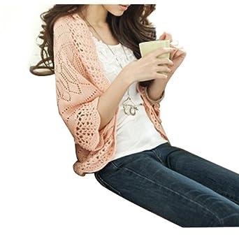Dayiss® Damen dünn Strickjacke mit Fledermausärmeln pink Boléro Ajour Strickerei