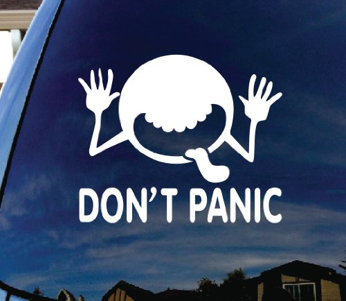 "Don't Panic Hitchhikers Guide to the Galaxy Car Window Vinyl Decal Sticker 6"" Wide"