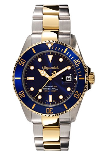 Gigandet Automatik Herren-Armbanduhr Sea Ground Taucheruhr Uhr Datum Analog Edelstahlarmband Blau Gold G2-001