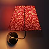 Craftter Traditional KERI DESIGN RED Color FABRIC Shade SQUARE WALL LAMP Fixture