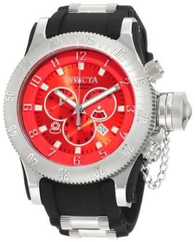 Мужские наручные часы Invicta Men's 10135 Russian Diver Chronograph Red Dial Black Polyurethane Watch