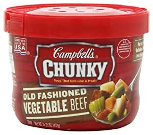 Campbell's Chunky Old Fashioned Vegetable Beef Soup, 15.25 Ounce Microwavable Bowls (Pack of 8)
