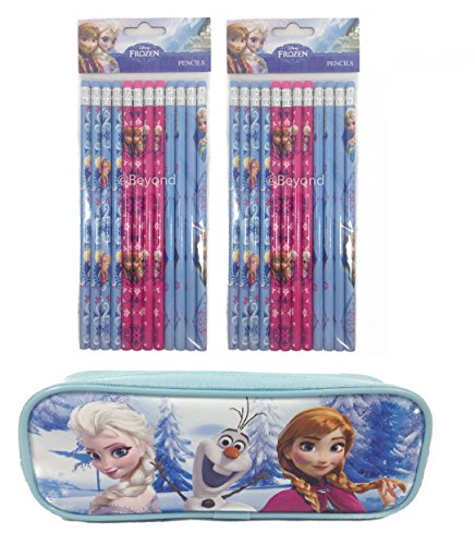 Brand New Disney Frozen Elsa And Anna Pencil Pouch Plus 2 Sets Of Pencils - Baby Blue front-1017022