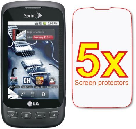 5x LG Optimus S LS670 Premium Clear LCD Screen Protector Shield Cover Guard Film Kit, no cutting is required! Exact fit and satisfaction guaranteed!