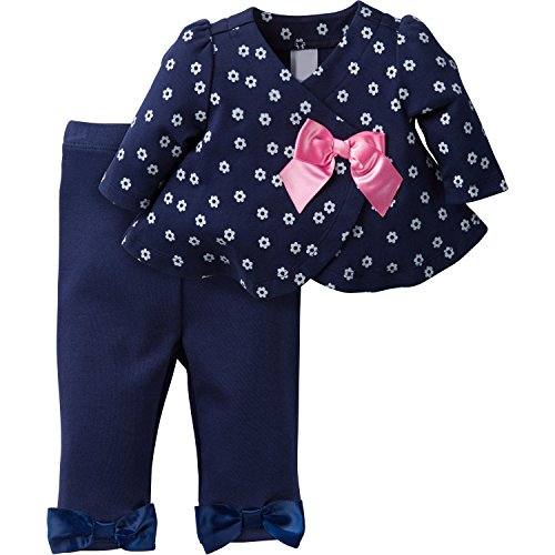 David Tutera Apparel Girls' Assymetrical Jacket and Legging Set, Navy, 6-9 Months