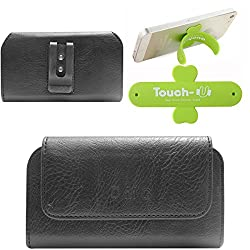 DMG Premium PU Leather Cell Phone Pouch Carrying Case with Belt Clip Holster for Intex Aqua Life II (Black) + Touch U Mobile Stand