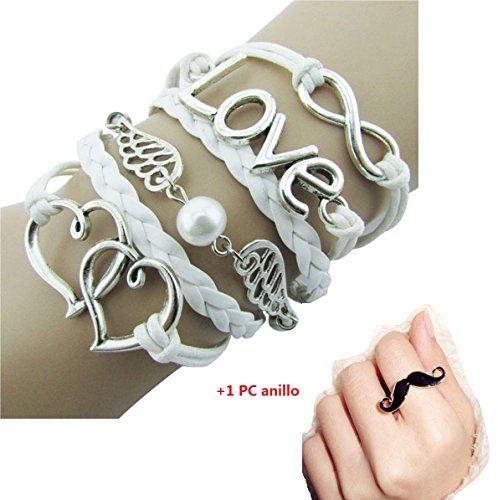 Malloom-nias-Joyera-DIY-cuero-de-la-manera-linda-infinito-amor-Alas-encanto-pulsera-de-plata