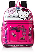 Hello Kitty Girls' Composition 15 inch Backpack with Lunch Kit, Pink/Black