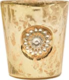 Luna Bazaar Candle Holder (3-Inch, Sun Motif, Gold Mercury Glass) - For Home Decor and Wedding Decorations - For Use with Tea Light Candles