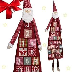 Adventskalender zum Befüllen XXL ca. 120 cm wunderschöner Weihnachtsmann Nikolaus aus Plüsch und Textil mit großen Stofftaschen