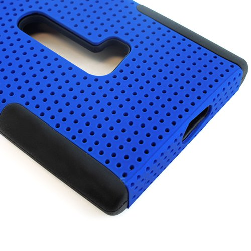 Mylife (Tm) Deep Blue And Dark Raven Black Perforated Mesh Series (2 Layer Neo Hybrid) Slim Armor Case For The Nokia Lumia 920, 920.2, 920T And 920 4G Camera Smartphone By Microsoft (External Rubberized Hard Shell Mesh Piece + Internal Soft Silicone Flexi