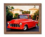 1956 Red Chevy Pickup Truck Home Decor Wall Picture Oak Framed Art Print