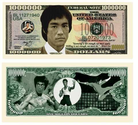 (5) Bruce Lee Collectible Million Dollar Bills Plus (1) Bill Protector