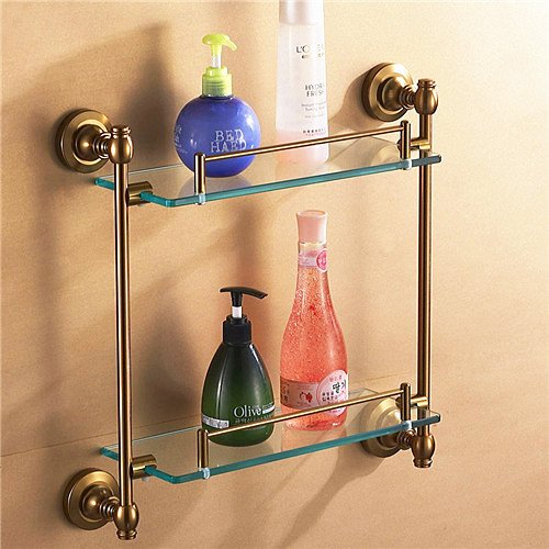 Ouku® Wall Mount Bathroom Bath Shower Antique Inspired Aluminum Bathroom Accessories Double Glass Shelf Lavatory Accessories Tools And Improvement Bronze Glass Towel Racks Robe Hooks front-1022522