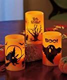 Flamless Halloween Candles, Set of 3, Battery Operated