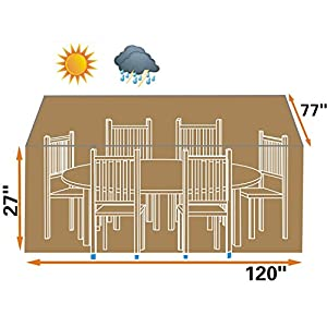Strong Camel Patio Outdoor Garden Furniture Cover Winter Rectangle Table Chair Protector Patio Set-TAN Color by SUNRISE