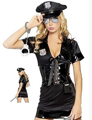 Sanlise 2014 sexy Lingerie Damen Dessous Kostüm Gogo syntetik Leder Rollenspiel Schwarz Größe