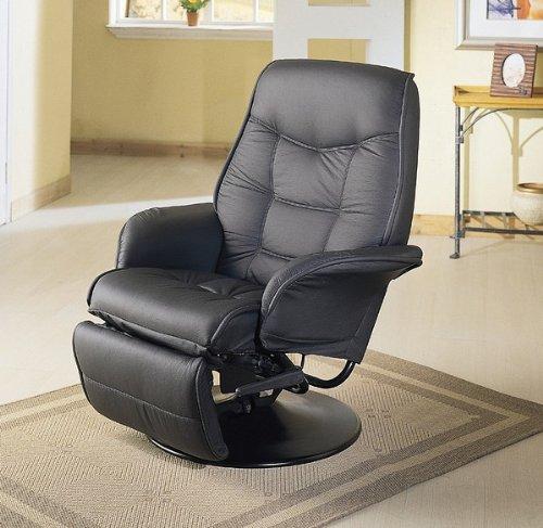 Coaster Furniture Leatherette Swivel Recliner in Black
