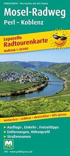 Radwanderkarte Leporello Mosel-Radweg, Perl - Koblenz. Mit Ausflugszielen, Einkehr- und Freizeittipps, wetterfest, reißfest, abwischbar, GPS-genau. 1:50000