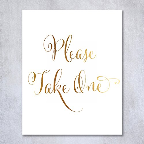 Please Take One Gold Foil Wedding Sign Reception Signage for Favor Programs Candy Bar Dancing Shoes Table Seating Chart Decor