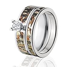 buy Mossy Oak Camo Bridal Set, Camo Wedding Rings, Duck Blind Camo Rings