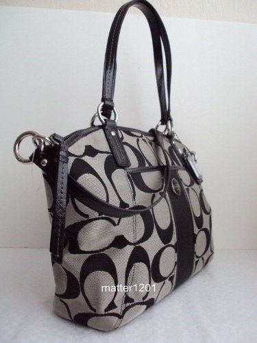 Coach   Coach F21899 Signature Pocket Tote White/black
