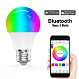 Magic Hue Bluetooth Smart Light Bulb - Dimmable Multicolored Disco Light - Wake Up Lights & Sleeping Night Light - Smartphone Controlled LED Household Light Bulb