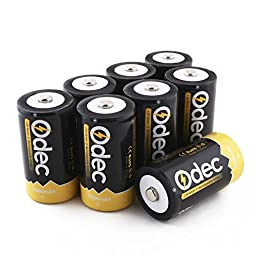 Odec D Cell Rechargeable Battery, 8-Pack 10000mAh Deep Cycle NiMH Battery
