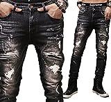 [ゼンアン]ZENAN メンズ ダメージジーンズ バイカー 綿 黒 スリムフィット ヴィンテージ風 ユーズド 加工デニム 日本正規品 ブラック 34(ウエスト90cm)