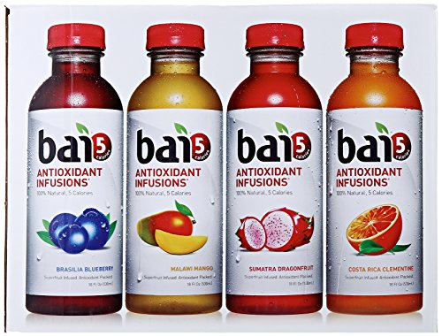Bai5, 5 Calorie Variety Pack, 100% Natural, Antioxidant Infused Beverage, 18-Ounce Bottles (Pack Of 12)