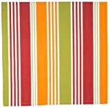 "100% Cotton Red Orange & Green Striped 54""x90"" Tablecloth - Belize"