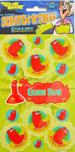 Dr Stinky's GUMMI BEAR Scratch-and-Sniff Stickers, 2 sheets 4 x 6 3/4, 26 stickers