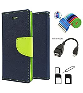 MAX JIO Mercury Diary Wallet Style Flip Cover Case for Xiaomi Redmi 1S (BLUE) + Nano Sim Adapter + Micro USB OTG Cable + Micro USB Charging Cable Combo Set