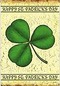 Happy St. Patrick's Day Clover Garden Flag Clover Rustic 12.5