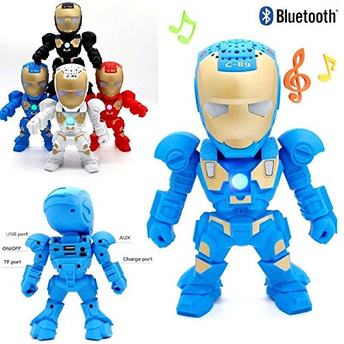 RiderTech New Iron Man Wireless Bluetooth Speaker C-89 Mini Portable Children Style LED Light Speakers Stereo Music Player Support FM TF For Smartphones Tablets PC All Bluetooth Devices(Blue) (Iron Man Speaker compare prices)
