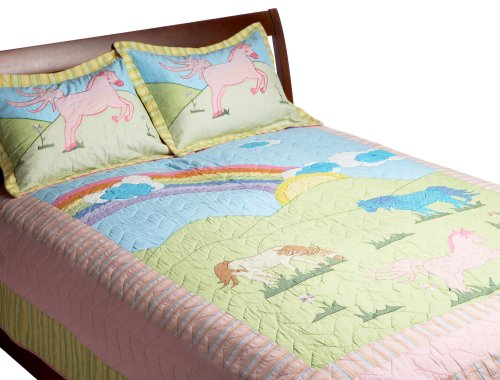 Pem America, My Pony Collection, Twin 2-Piece Quilt Set, Pink front-1005387