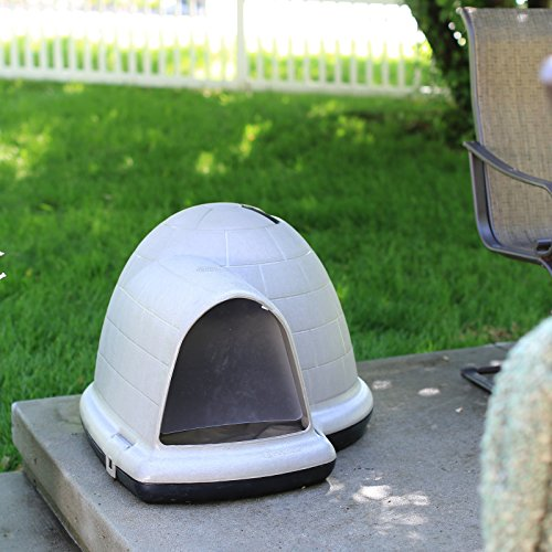 Petmate indigo dog house with free dog door tan large for Indigo dog house