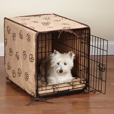 Proselect Polyester Pawprint Dog Crate Cover And Bed Set, Medium, 2-Pack, Black