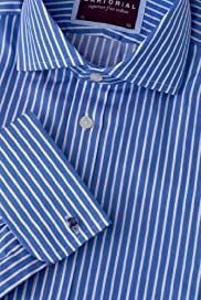 2in Longer Luxury Sartorial Pure Cotton Striped Shirt [T11-4560L-S]