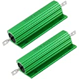Amico 100W 4 Ohm Screw Tap Mounted Aluminum Housed Wirewound Resistors 2 Pcs