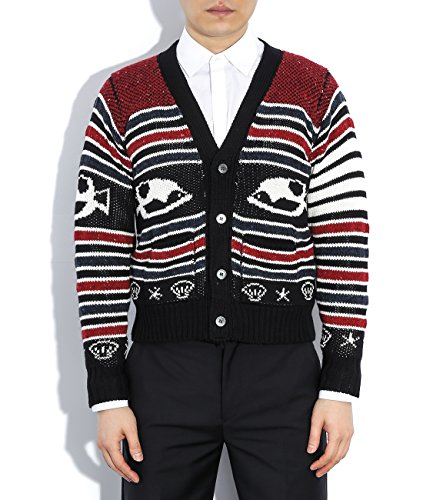 wiberlux-thom-browne-mens-fish-patterned-striped-knit-cardigan-3-red-navy