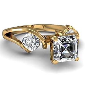 1.10 Ct Asscher & Round Cut Diamond Three Stone White Engagement Ring 14K
