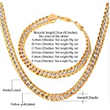 Brand Necklace And Bracelet Set Two Tone Gold Color Hip Hop Cuban Link Chain Jewelry Set For Men Gift S566 (46cm (18inch))
