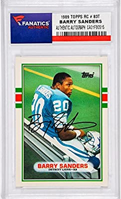 Barry Sanders Detroit Lions Autographed 1989 Topps #83T Rookie Card - Memories - Fanatics Authentic Certified