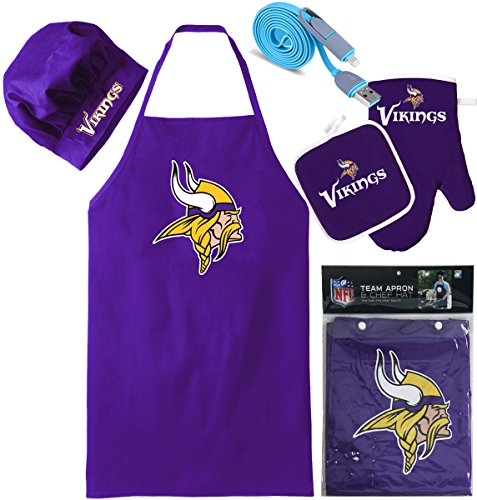 Minnesota Vikings (Apron & Oven Mitt Pot Holder), Free USB Chargers Cable, Barbeque Apron and Chef's Hat , NFL Licensed (Team Spirit Bottle Holder compare prices)